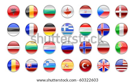 Vector Illustration of round buttons set, decorated with the flags of the NATO countries. - stock vector