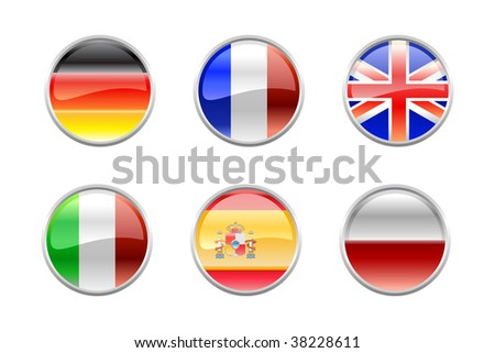 Vector Illustration of round buttons set, decorated with the flags of the world (G6).