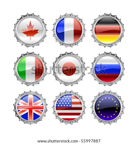 Vector Illustration of round buttons set, decorated with the flags of the world (G8). - stock vector