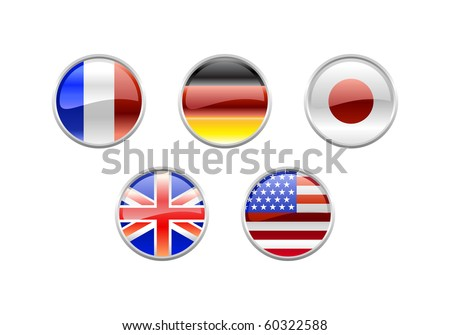 Vector Illustration of round buttons set, decorated with the flags of the world (G5). - stock vector