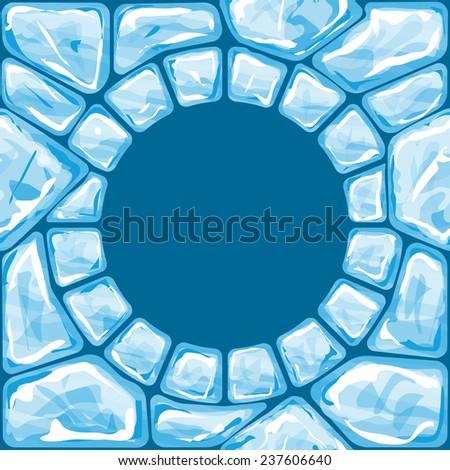 Vector illustration of round frame ice brick seamless pattern - stock vector
