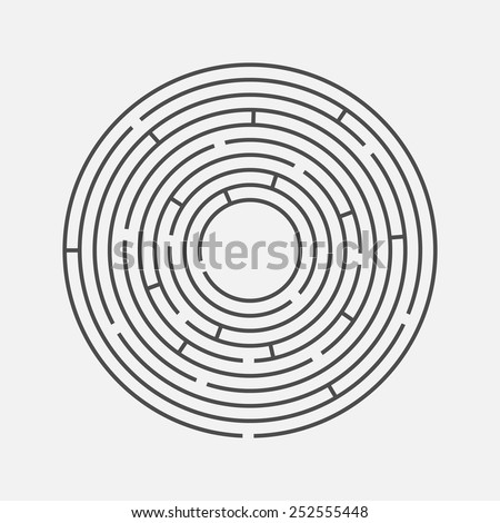 Vector illustration of round maze / labyrinth. Isolated on white background, eps 8. - stock vector