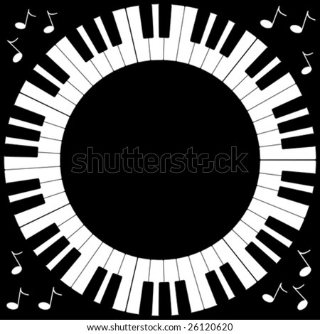 Vector illustration of round piano keyboard frame.