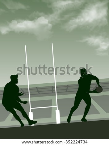 Vector illustration of rugby background with players, ball, rugby post, stadium & sky - stock vector