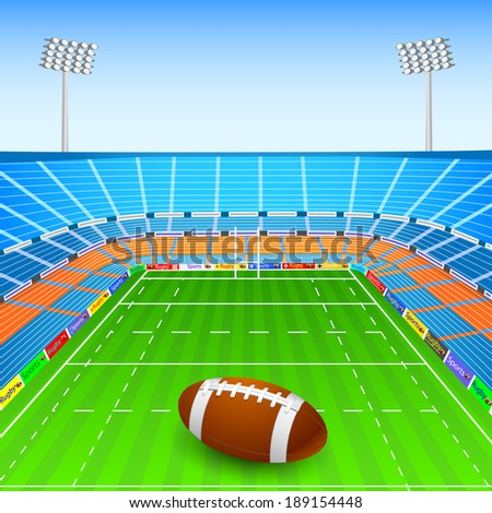 vector illustration of rugby ball on stadium - stock vector