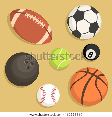 Vector illustration of rugby tennis soccer billiard basketball baseball bowling balls icon set isolated on brown background.