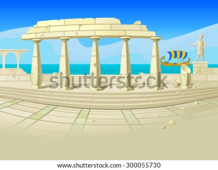 Vector illustration of ruins of an ancient city, with an old-time sailing ship, a blue sea and sky in the background. Empty space leaves room for design elements or text.Postcard.Banner.Background. - stock vector