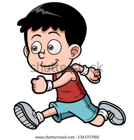 vector illustration of runner boy