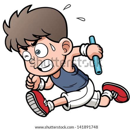 Vector illustration of Runner boy - stock vector