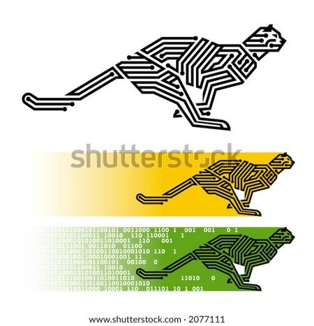 """vector illustration of running """"digital"""" cheetah - stock vector"""