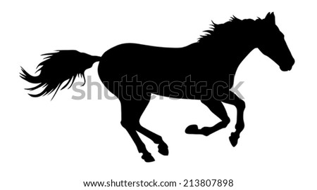 vector illustration of running horse silhouette - stock vector
