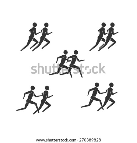 vector illustration of running or jogging men icons. fitness logo design. - stock vector