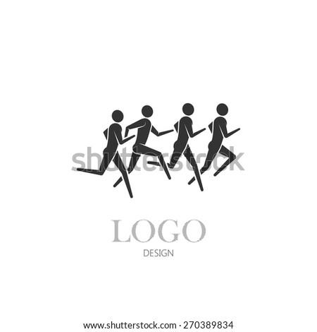 vector illustration of running or jogging men icons. fitness or marathon logo design. - stock vector