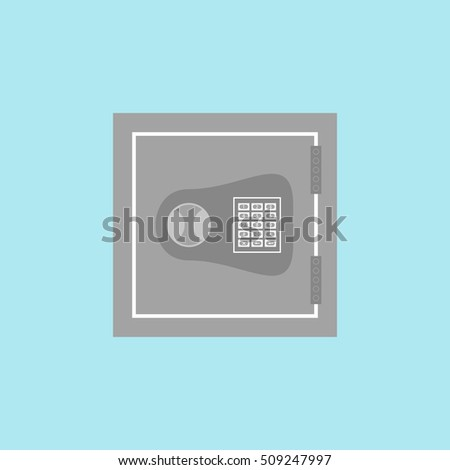Vector illustration of safe icon on a blue background