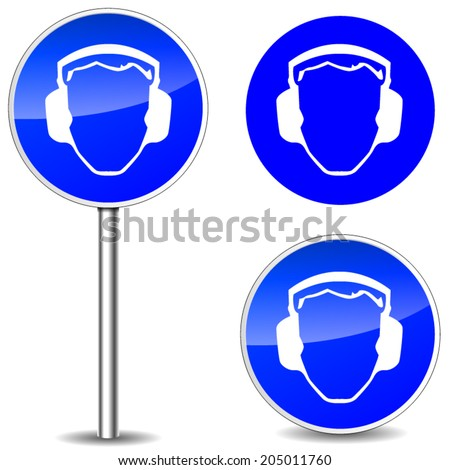 Vector illustration of safety noise blue sign icons - stock vector