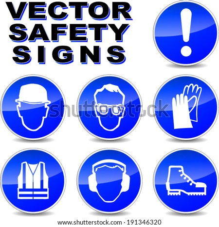 Vector illustration of safety signs on white background - stock vector