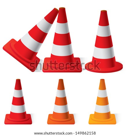 vector illustration of Safety Traffic Cones set - stock vector