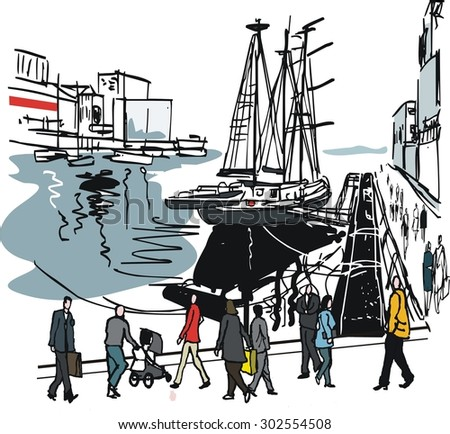Vector illustration of sailing boat and people, Auckland wharves,New Zealand. - stock vector