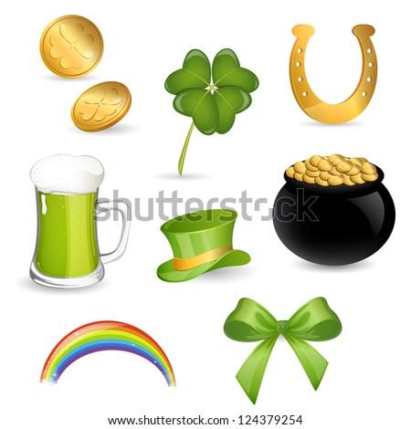 Vector Illustration of Saint Patrick's Day Symbols - stock vector