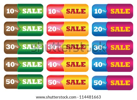 Vector illustration of sale labels with different messages.