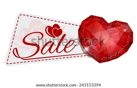 Vector illustration of sale sticker with gem heart - stock vector