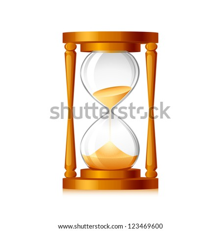 vector illustration of sand flowing inside hour glass - stock vector