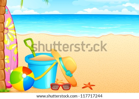 vector illustration of sandpit kit and hat on sea beach - stock vector