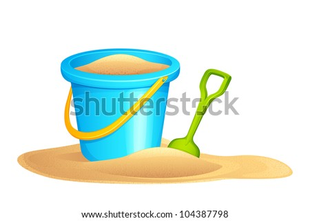vector illustration of sandpit kit in sand - stock vector