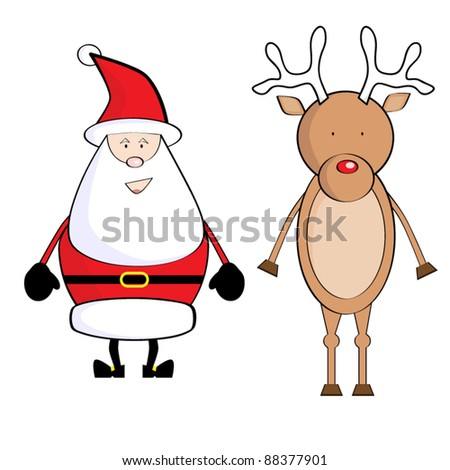 Vector Illustration of Santa Claus and Reindeer - stock vector
