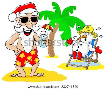 vector illustration of santa claus and snowman at christmas on vacation at the beach - stock vector