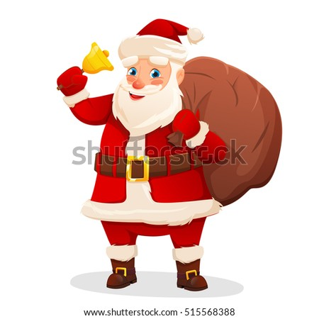 Vector Illustration of Santa Claus carrying sack full of gifts and bell. Isolated on white. vector illustration
