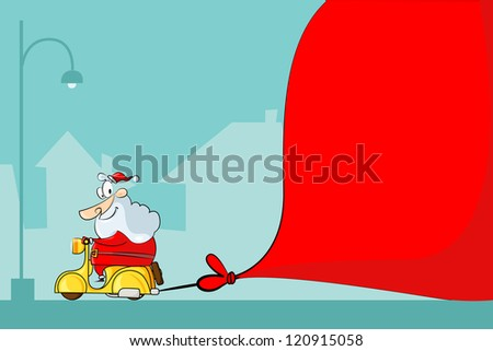vector illustration of Santa Claus driving moped with Christmas bag