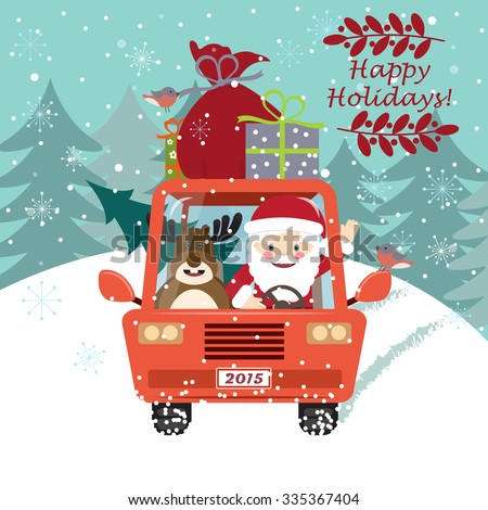 Vector illustration of Santa Claus driving the car with a cute deer - stock vector