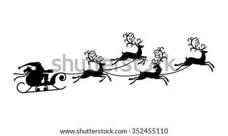 vector illustration of Santa Claus flying with reindeer