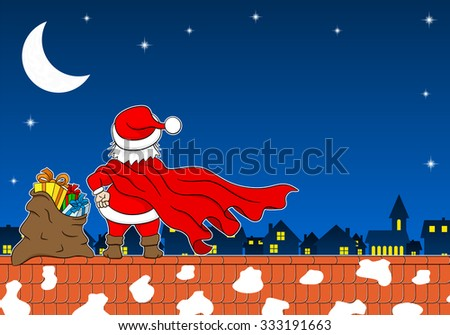 vector illustration of santa claus hero at work on a roof