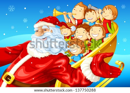 vector illustration of Santa Claus riding on sledge with kids in Christmas - stock vector