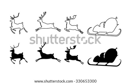 vector illustration of Santa Claus silhouette with sleigh and three rein deers - stock vector