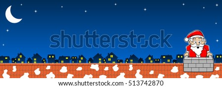 vector illustration of Santa Claus stuck in the chimney