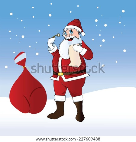 Vector illustration of Santa Claus with a bag of gifts - stock vector