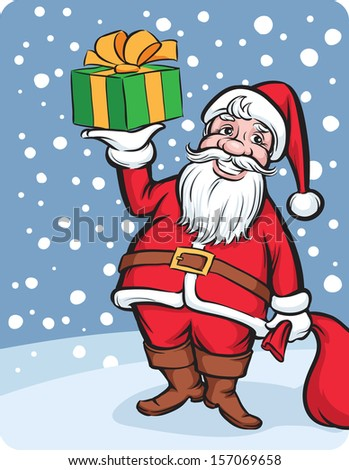 Vector illustration of Santa Claus with Christmas gift. Easy-edit layered vector EPS10 file scalable to any size without quality loss. High resolution raster JPG file is included. - stock vector
