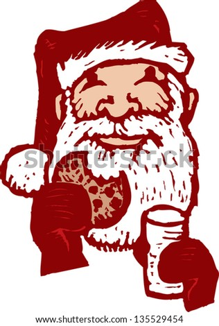 Vector illustration of Santa with Cookies and Milk