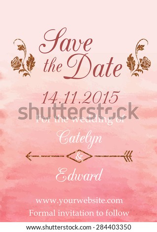 Save date wedding invitation card template stock vector 561386797 vector illustration of save the date card design template decorated with watercolor and glittering textures stopboris Images