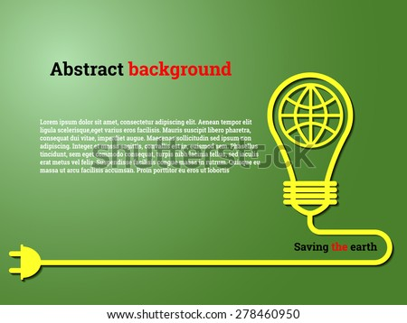 Vector Illustration of Save the earth, Website, Background, Banner. Eco Energy Save Concept Element Template with Map and Lamp in Outline Style - stock vector