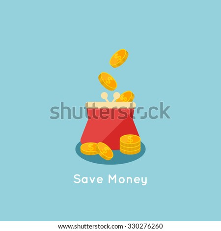 vector illustration of Saving money flat business concept, filling money with bag of gold - stock vector