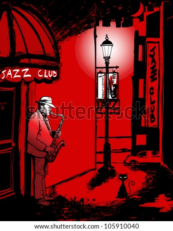 Vector illustration of saxophone player in a street at night - stock vector