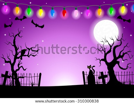 vector illustration of scary halloween background with cemetery in the dark night with full moon  - stock vector