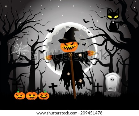 Vector illustration of Scary Scarecrow in a Graveyard during Halloween's Night.EPS 10