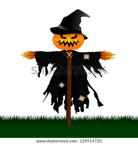 Vector illustration of Scary Scarecrow in a Graveyard isolated on White Background.Halloween Concept. - stock vector