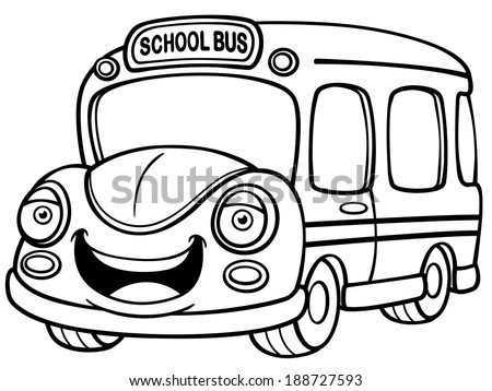 Vector illustration of school bus coloring book