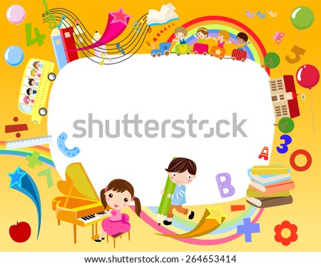 Vector illustration of school children and frame - stock vector